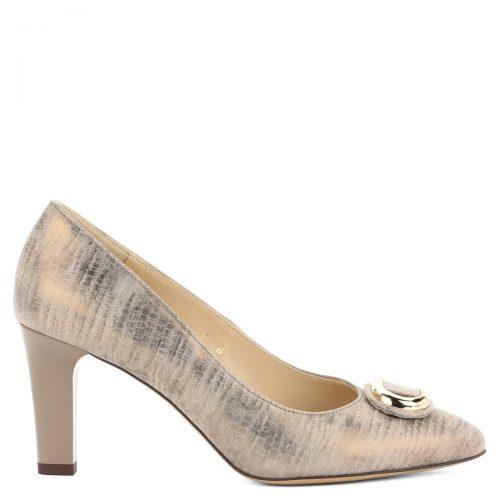 Anis arany színű magas sarkú cipő, elején arany dísszel.