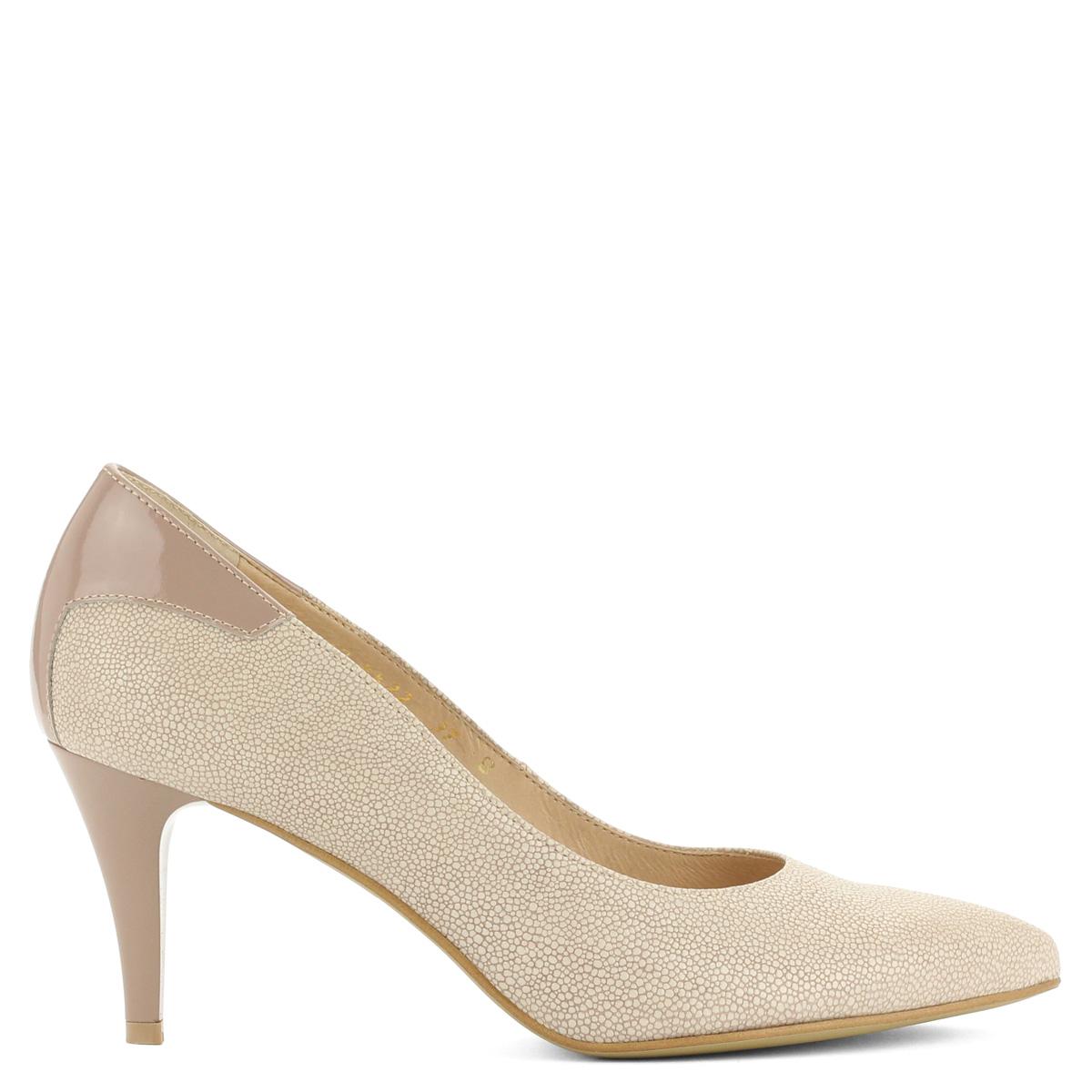 Elegáns Anis bézs bőr cipő mintás bőr felsőrésszel 85cb15d00e