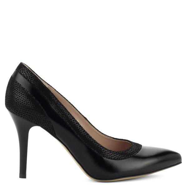 Anis magas sarkú bőr cipő. Hegyes orrú, magas sarkú alkalmi bőr cipő fekete színben. Sarka 9 cm magas. - ChiX Női Cipő Webáruház
