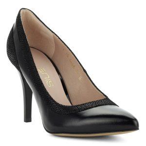 Hegyes orrú, magas sarkú alkalmi bőr cipő. Sarka 9 cm magas.