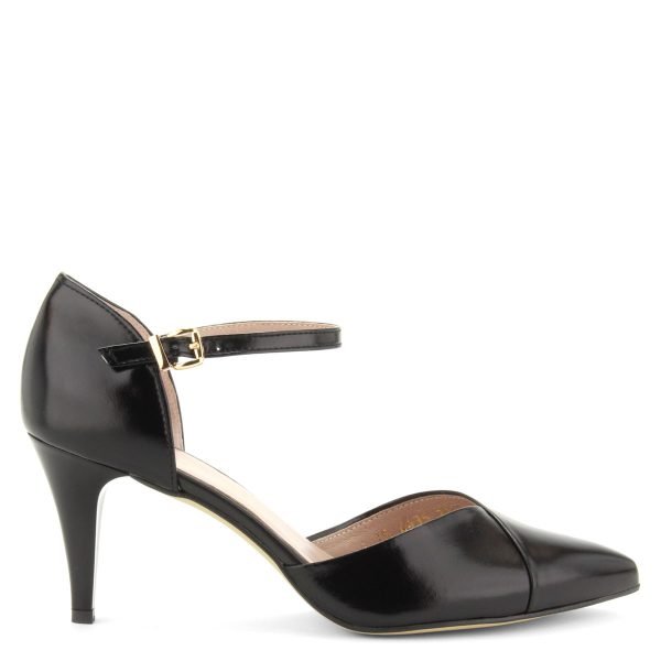 Bokapántos női bőr szandálcipő 7,5 cm magas sarokkal, bőr béléssel. Márka: Anis Szín: Fekete Modellszám: 4435 BLACK