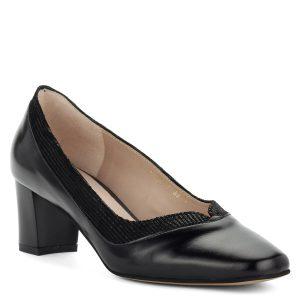 Fekete Anis cipő stabil, 5,5 cm magas sarokkal. Felsőrésze és bélése is természetes bőr.