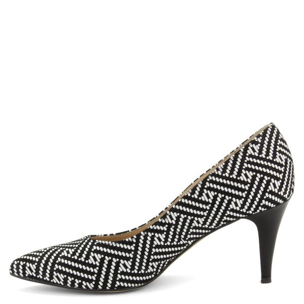 Fekete-fehér színű, hegyes orrú női cipő mintás bőr felsőrésszel, 7,5 cm magas sarokkal.