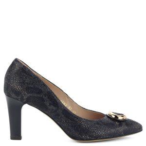 Sötétkék női bőr cipő 7,5 cm magas sarokkal, elején arany színű dísszel.