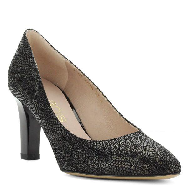 Bőrből készült fekete Anis cipő 7,5 cm magas sarokkal. Felsőrészén pöttyös mintával.