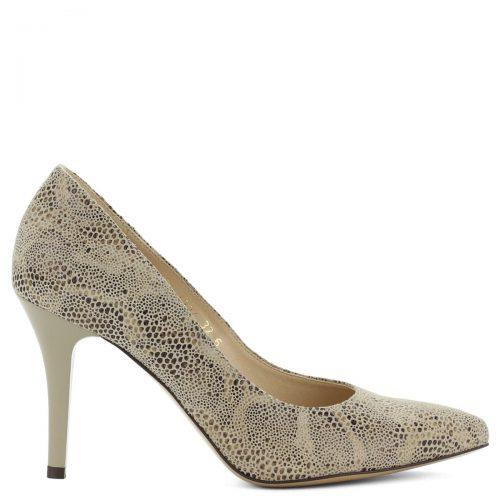 Magas sarkú bőr női cipő pöttyös mintás felsőrésszel. Sarka 9 cm magas.