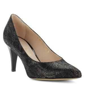 7,5 cm magas sarkú, mintás bőr felsőrészű elegáns női Anis cipő.