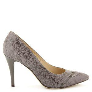 Hegyes orrú, magas sarkú elegáns női cipő mintázott bőr felsőrésszel, orrán lakk csíkkal.