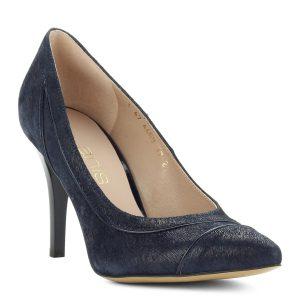 Sötétkék bőr felsőrésszel, 9 cm magas sarokkal készült Anis alkalmi cipő, kívül-belül bőr.