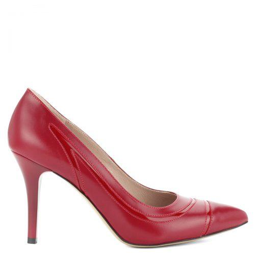 9 cm magas sarkú hegyes orrú bőr cipő, oldalában lakk bőr díszítő csíkkal