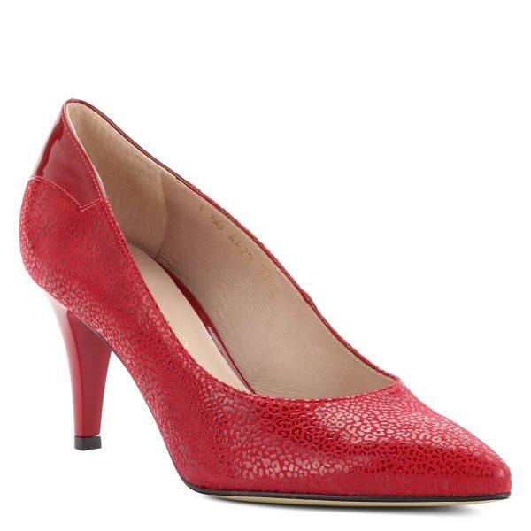Piros színű kívül-belül bőr, anyagában strukturált Anis női cipő sarok résznél lakk bőr betéttel