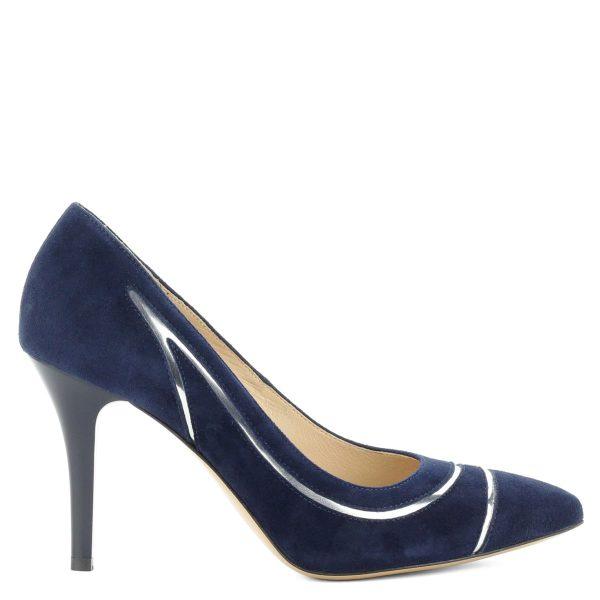 Sötétkék velúr bőr Anis cipő kb 9 cm magas sarokkal, ezüst díszítő csíkkal.