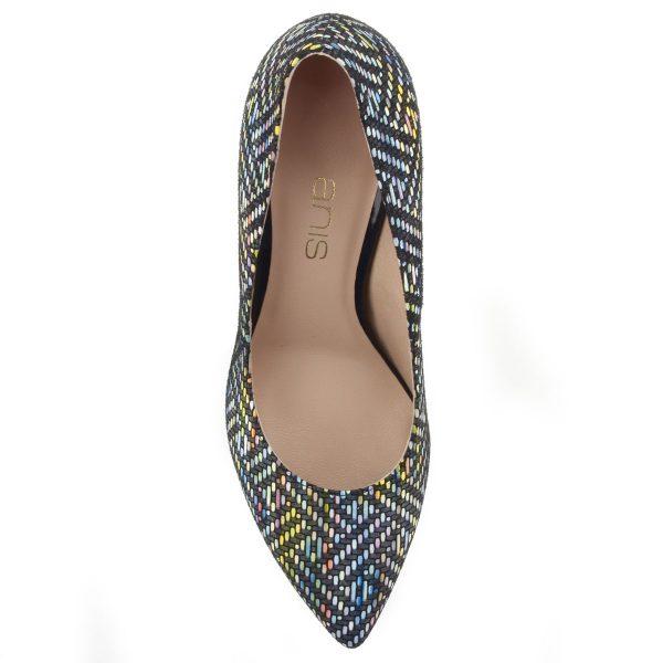 Magas sarkú színes bőr cipő bőr béléssel.