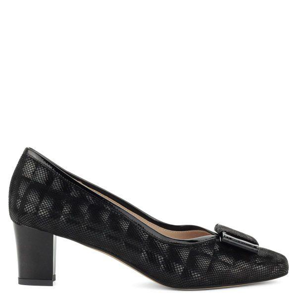 Stabil sarkú elegáns női cipő, elején masni dísszel. Kívül-belül bőrből készült, sarka 5,5 cm magas.