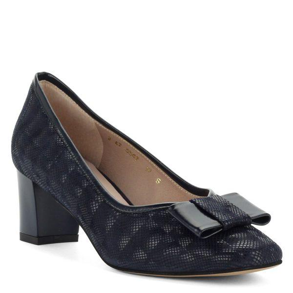 5,5 cm-es sarokkal készült kék Anis bőr cipő, elején masni dísszel