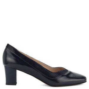 Vastag sarkú csinos Anis cipő sötétkék színben, mintás szegéllyel