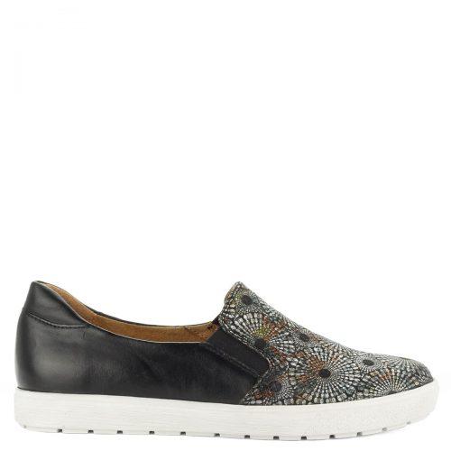 Kényelmes Caprice belebújós bőr cipő fekete színben.