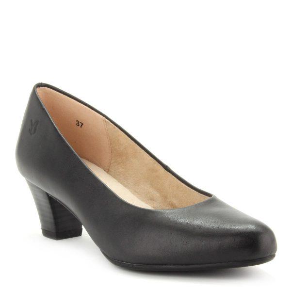 Fekete Caprice cipő stabil sarokkal, természetes bőrből. Sarka 5 cm magas.