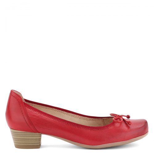 Piros Caprice bőr cipő 3,5 cm magas sarokkal, felsőrészét masni díszíti.