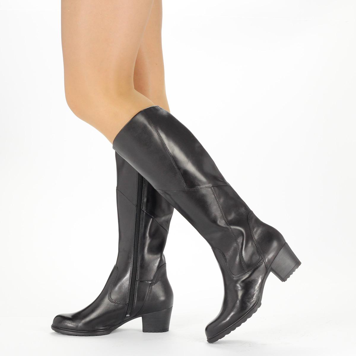 Fekete Tamaris bőr csizma 5 cm magas sarokkal aa21dc6951