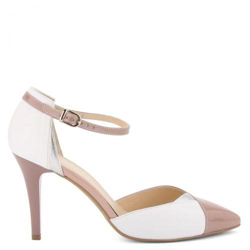 Fehér-rózsaszín színű magas sarkú női bőr cipő 9 cm magas sarokkal, bőr béléssel. Márka: Kotyl Szín: Fehér-Rózsaszín-Ezüst Modellszám: 7275 WHITE ROSE