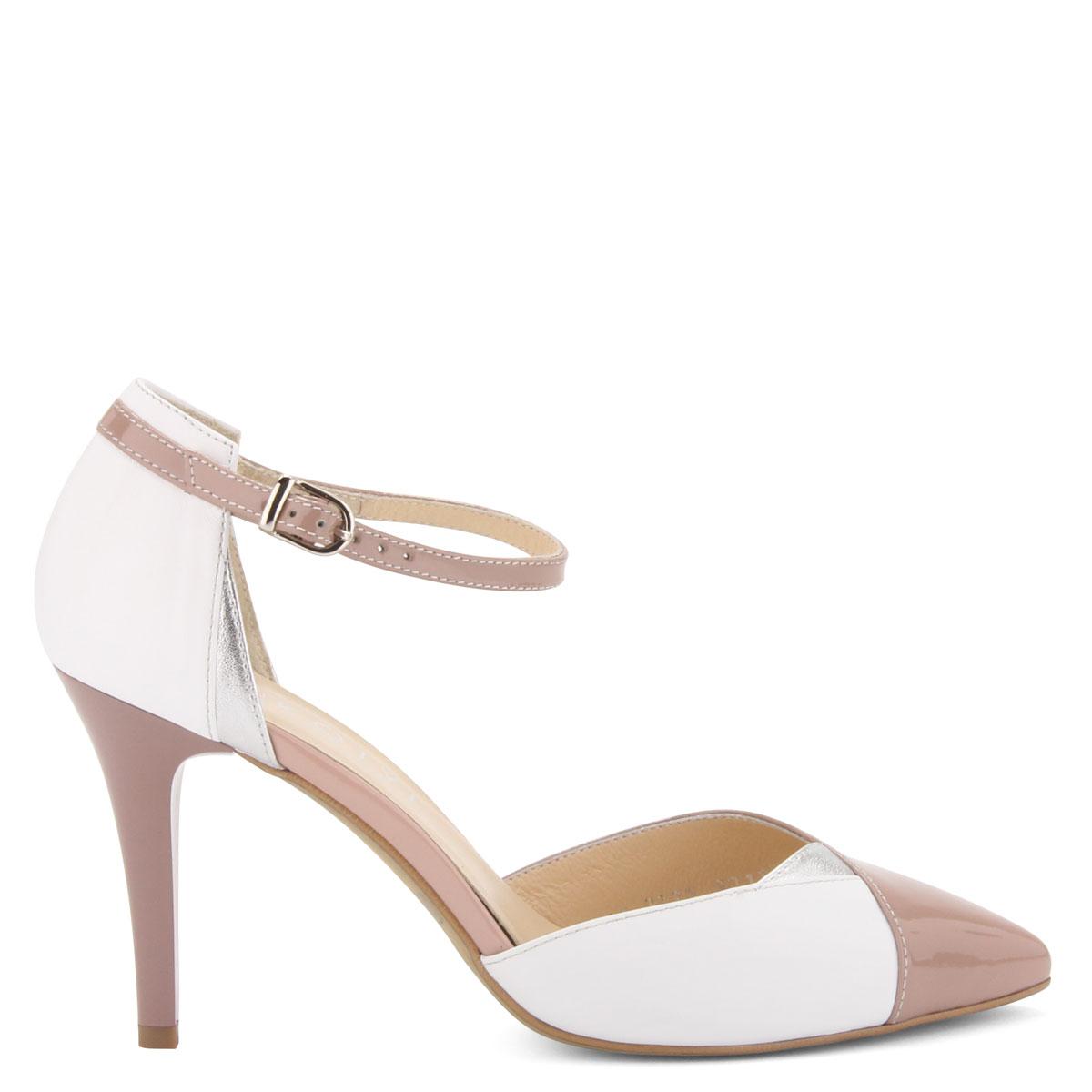 Fehér-rózsaszín színű magas sarkú női bőr cipő 9 cm magas sarokkal 7542752e94