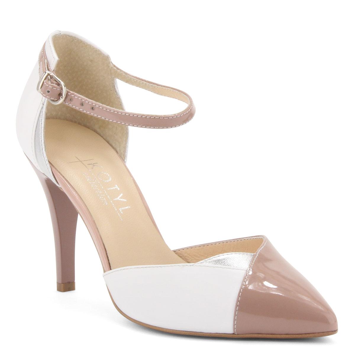 ... Fehér-rózsaszín színű magas sarkú női bőr cipő 9 cm magas sarokkal f326113330