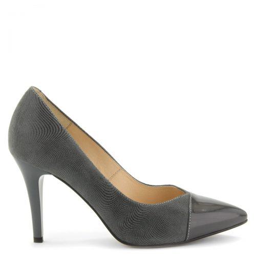 Hegyes orrú elegáns női alkalmi cipő 9 cm magas sarokkal, különleges mintás bőrből, szürke színben. A cipő felsőrésze és bélése egyaránt természetes bőr.