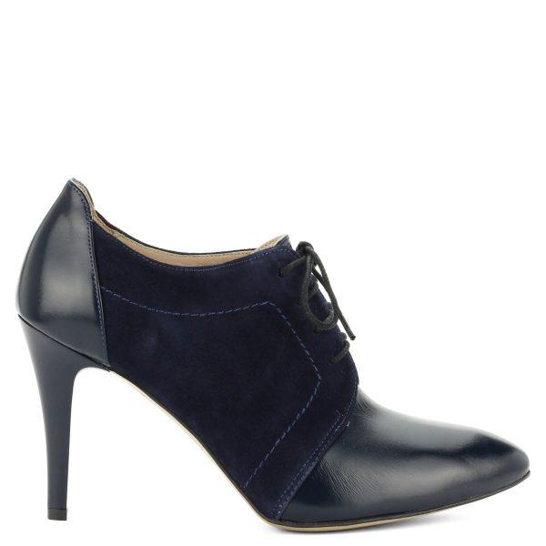 Sötétkék színű Luca Cavialli magas sarkú fűzős női bőr cipő bőr béléssel