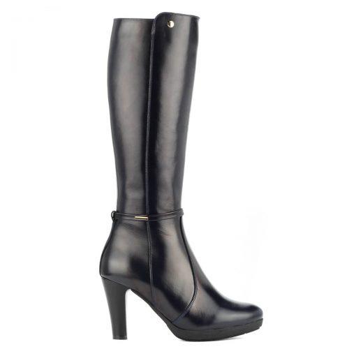 Szűk szárú sötétkék magas sarkú platformos bőr csizma 8,5 cm magas sarokkal