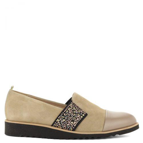 Luca Cavialli belebújós női bőr cipő bézs színben, oldalán díszített gumi betéttel.