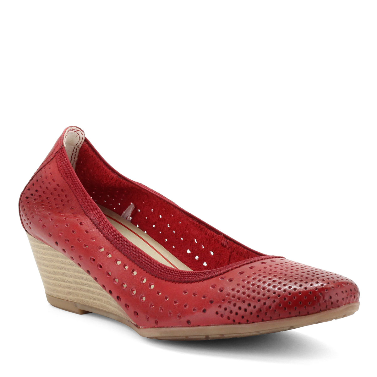 Marco Tozzi teletalpú női bőr cipő piros színben, lyukacsos