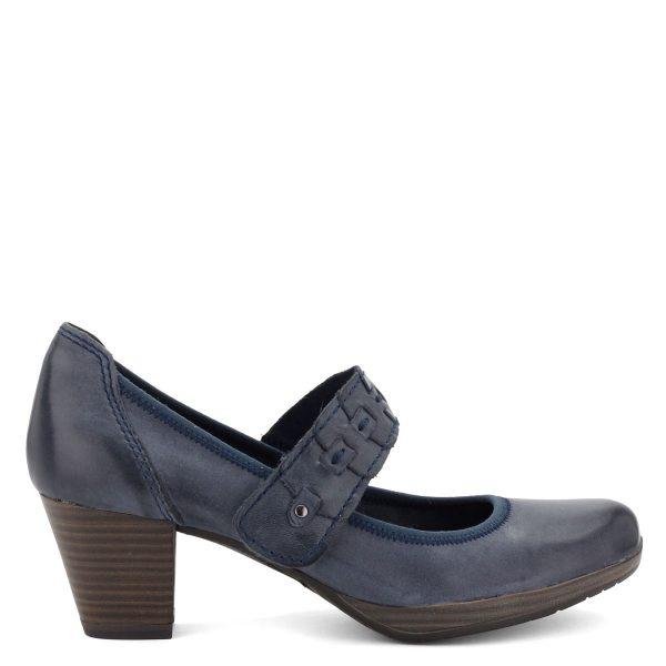Marco Tozzi női bőr cipő, felső részén tépőzáras pánttal, platform talppal