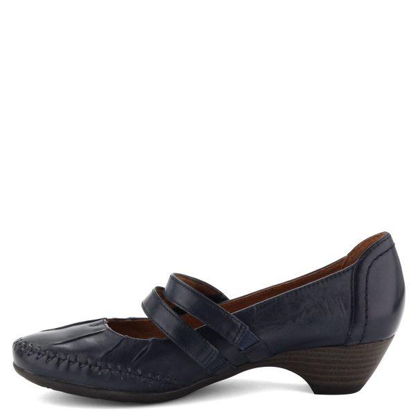 Kényelmes, H szélességű kívül-belül bőr, sötétkék színű Jana női cipő