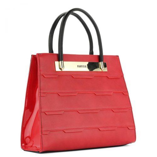 Piros Pabia táska nagy belső térrel, belsejében cipzáros- és telefonzsebbel.