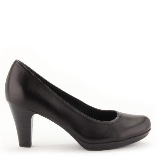 Platformos Tamaris bőr cipő kényelmes magasságú sarokkal, fekete színben