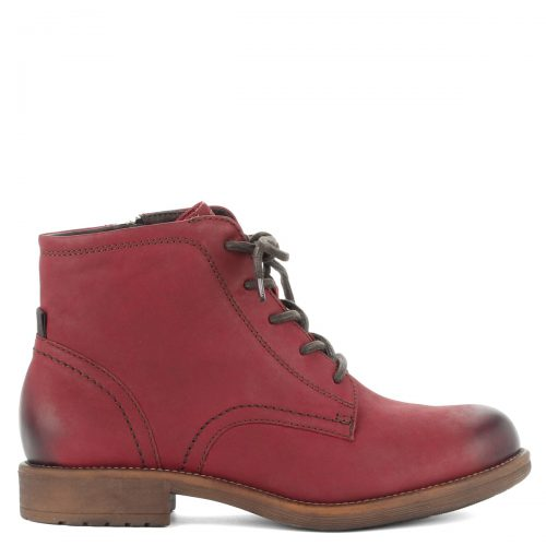 Piros színű fűzős Tamaris bakancs, belső oldalán cipzáros, meleg béléssel.