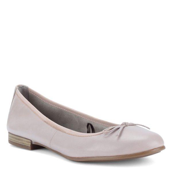 Halvány rózsaszín Tamaris balerina cipő, orrán masni dísszel.