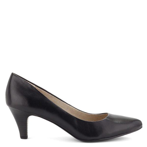 Klasszikus fazonú, 6 cm magas sarkú Tamaris cipő, fekete bőr felsőrésszel.