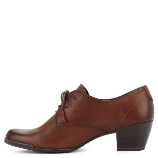 5 cm magas Antishokk sarokkal készült bőr Tamaris cipő. Memóriahabos talpbéléssel készült, barna színben.