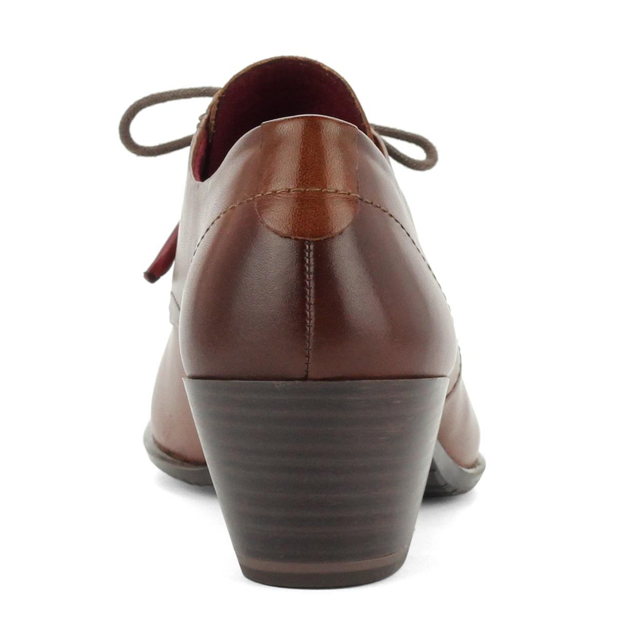 Fűzős Tamaris bőr cipő barna színben ea4b2efa79