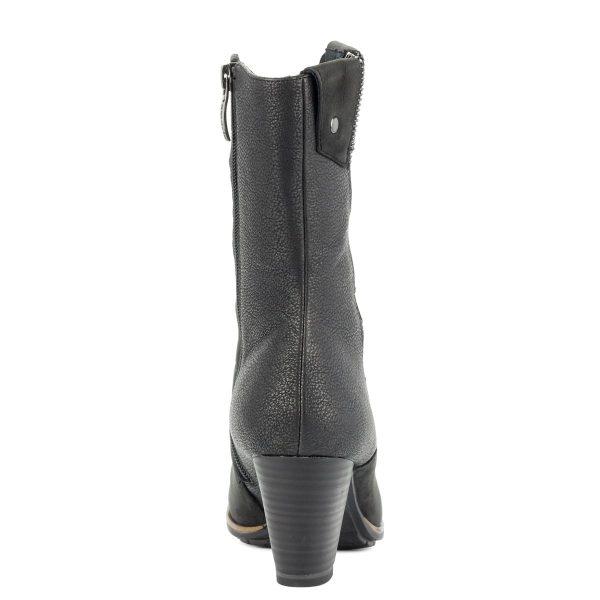 Rövid szárú fekete Tamaris csizma 6,5 cm magas Antishokk sarokkal, textil béléssel. Touch It talpbéléssel készült.