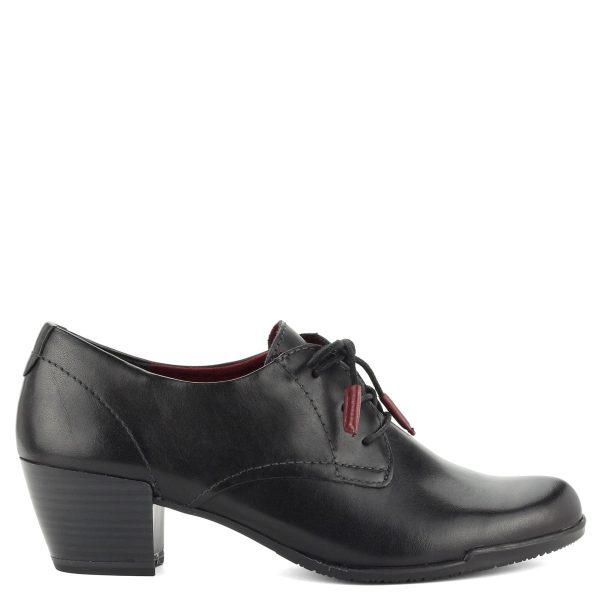 5 cm magas Antishokk sarokkal készült bőr Tamaris fűzős cipő.