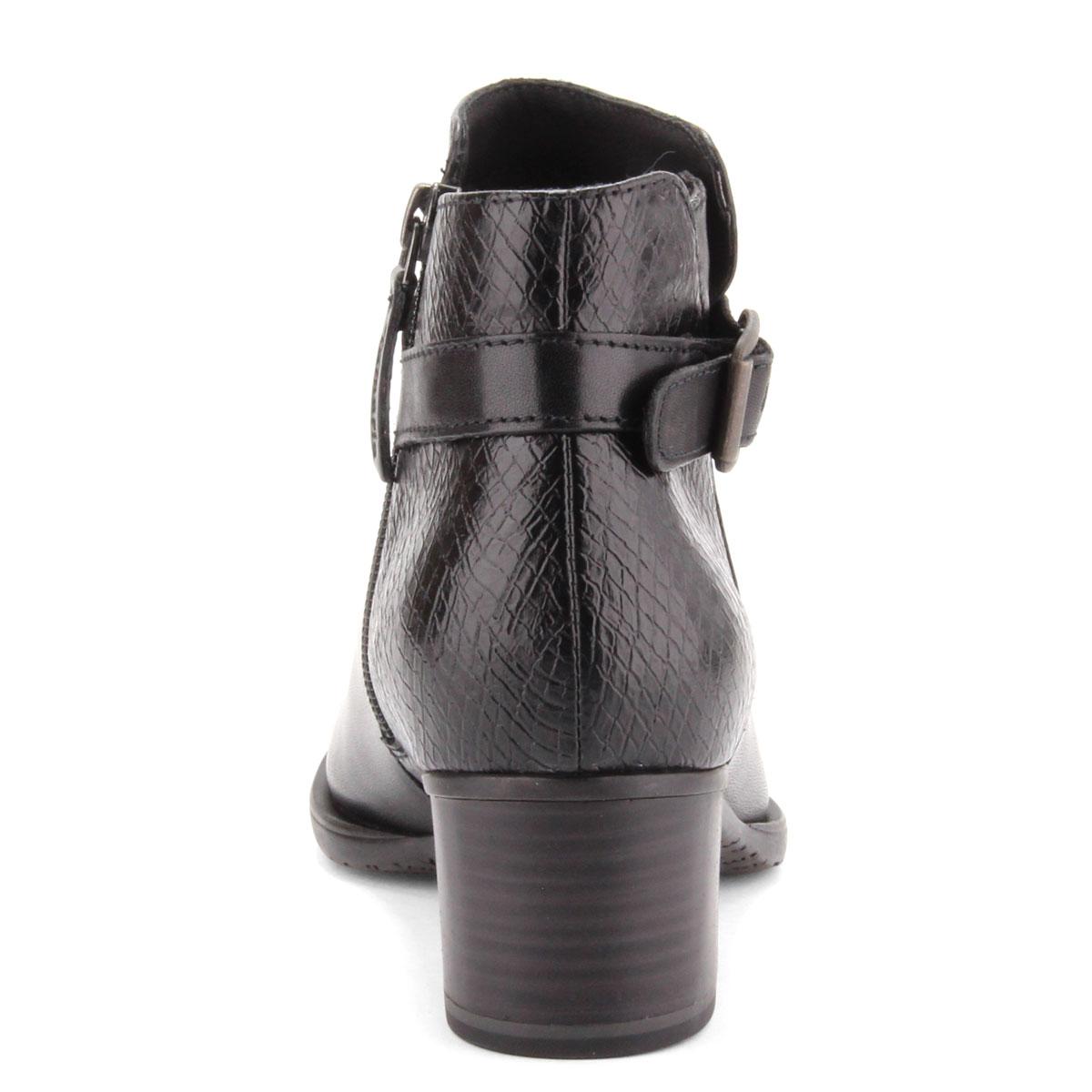 d068d35e9b Hátsó része · Fekete Tamaris női bokacsizma textil béléssel. Sarka 5 cm  magas ANTiShokk sarok. Hátsó része
