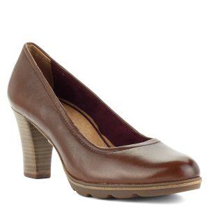 Barna Tamaris cipő puha bőr felsőrésszel. Antishokk sarka kb 7,5 cm magas.