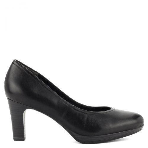 Bőr Tamaris cipő fekete színben. 7,5 cm magas Antishokk sarokkal és puha talpbéléssel készült.