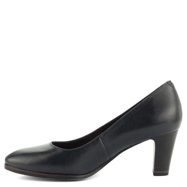 Női Tamaris cipő bőr felsőrésszel. 6,5 cm magas sarka Antishokk technológiával készült, talpbélése puha memóriahabos Touch it bélés