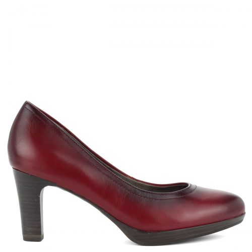 Bordó Tamaris magas sarkú cipő kis platformmal, Antishokk sarokkal