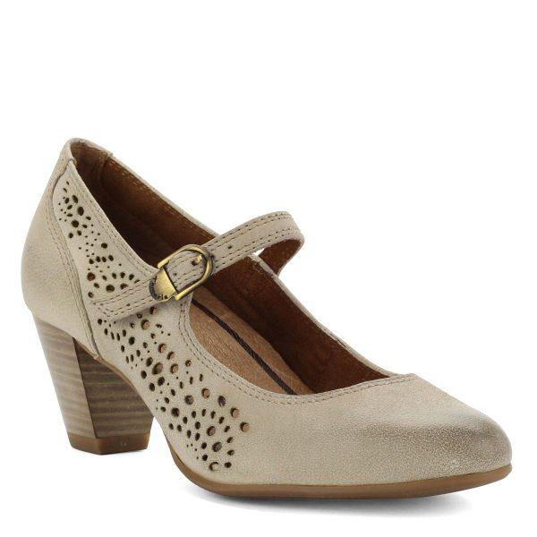 Lyukacsos felsőrésszel ellátott pántos világos színű Tamaris bőr cipő, 6 cm magas ANTiShokk sarokkal