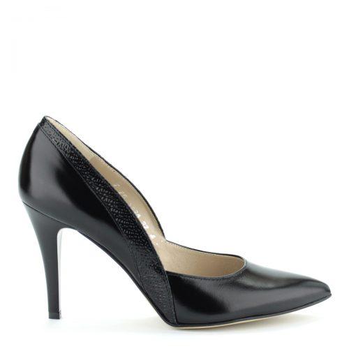 Anis női cipő. Fekete színű magas sarkú alkalmi cipő. Sarka 9 cm magas. Felsőrésze és bélése is bőr. Oldalán anyagába nyomott díszítés található.